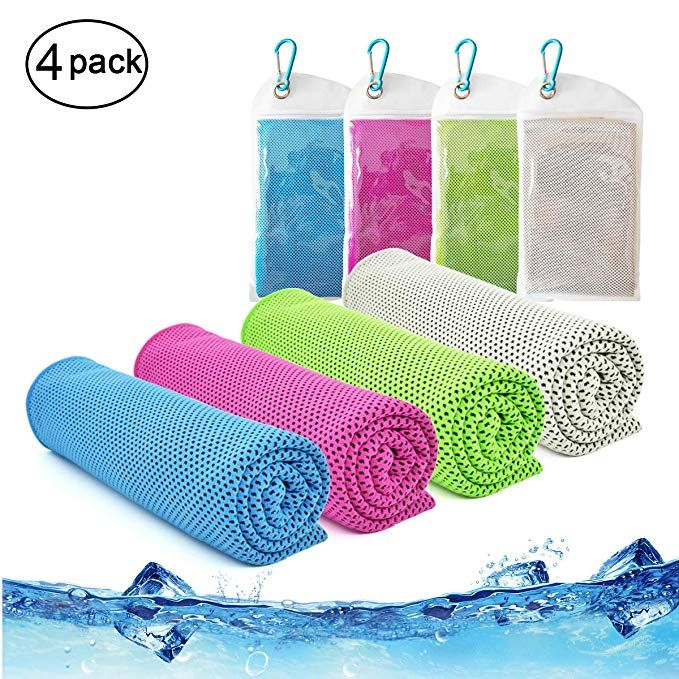 Cooling Towel Vinsco 4 Pack Cool Towels Microfiber Chilly Ice Cold Head Band Bandana Neck Wrap 40 X 12 For
