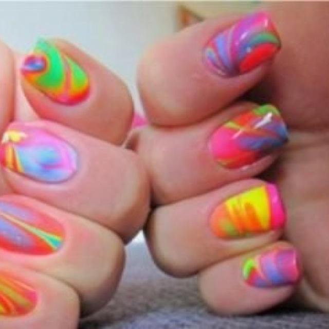 ✌Nails Art, Nails Design, Marble Nails, Colors Nails, Ties Dyes, Nails Polish, Neon Nails, Water Marbles, Marbles Nails