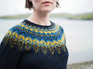 """Threipmuir Sweater - Paid for Knit Colorwork pattern on Ravelry by Ysolda Teague- """"A top-down pullover with a dramatic round yoke."""""""