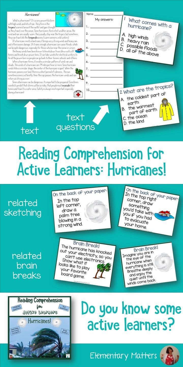 Hurricanes Reading Comprehension For Active Learners Reading Comprehension Comprehension Reading Comprehension Skills