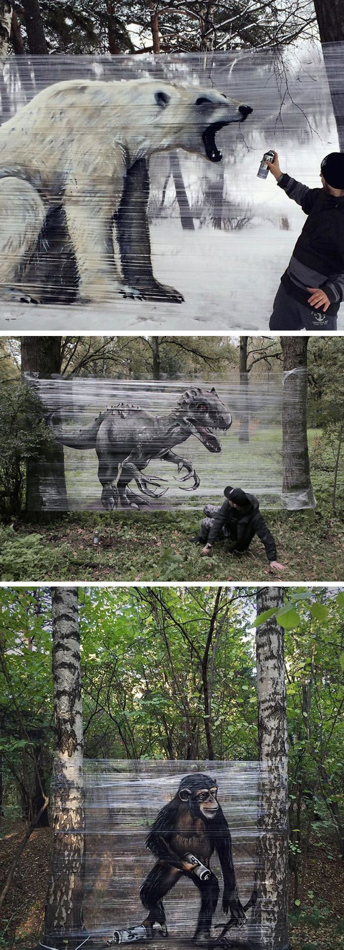 Graffiti Artist Spray-Paints Giant Animals onto Pl…