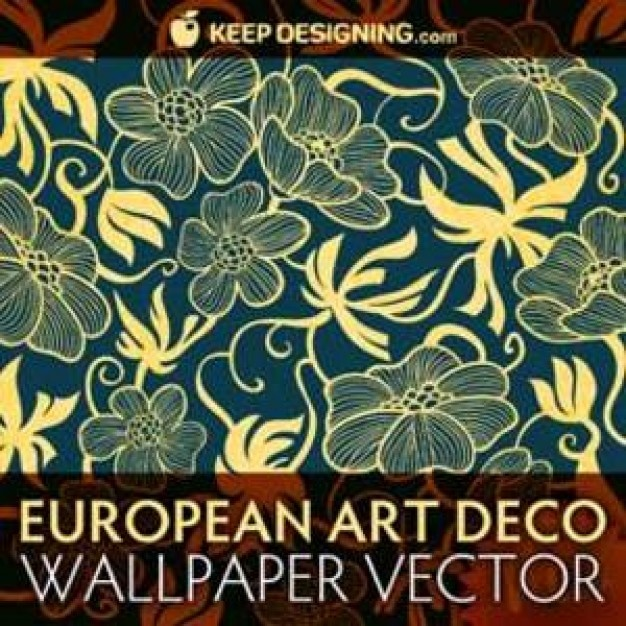 European Art Deco Bloemen Wallpaper |