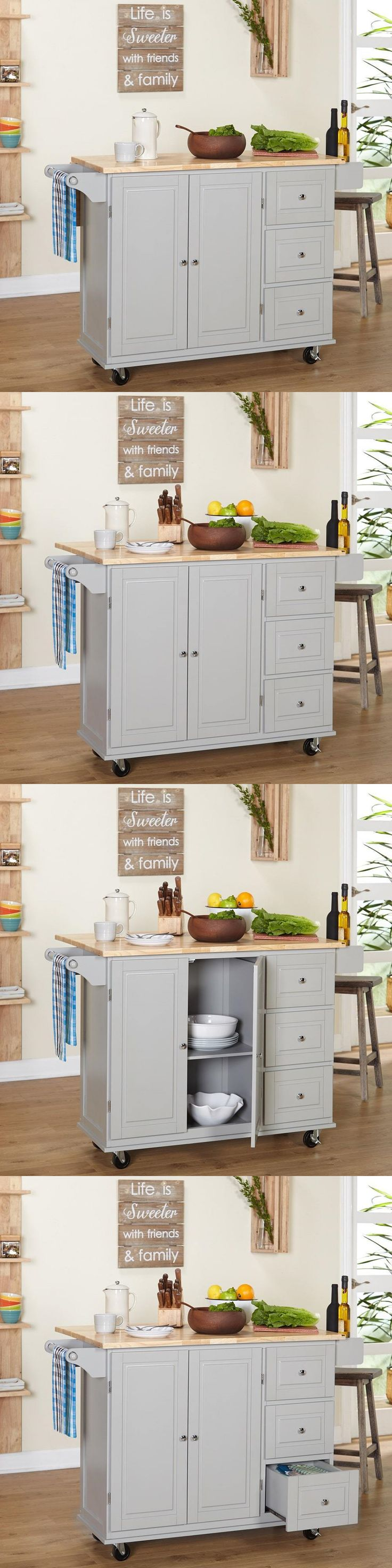 Kitchen Islands Kitchen Carts 115753: Portable Kitchen Island Cart Rolling Storage Wood Cabinet Utility Wheels Drawers -> BUY IT NOW ONLY: $305.99 on eBay!