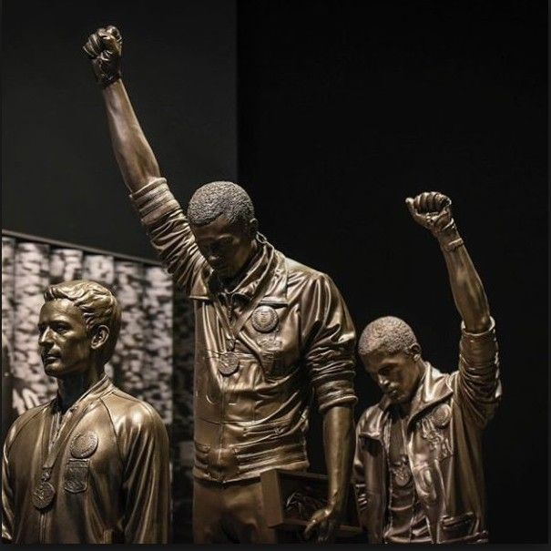 Tommie Smith and John Carlos statue (with Australia's Peter Norman) at the Smithsonian African-American History Museum