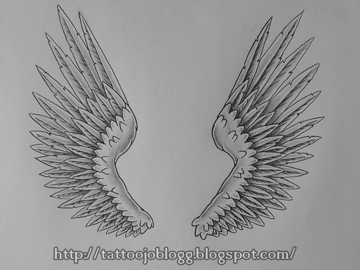 TattooJO`s blogg Tutorials and artwork: How to draw angel wings, tattoo style step by step