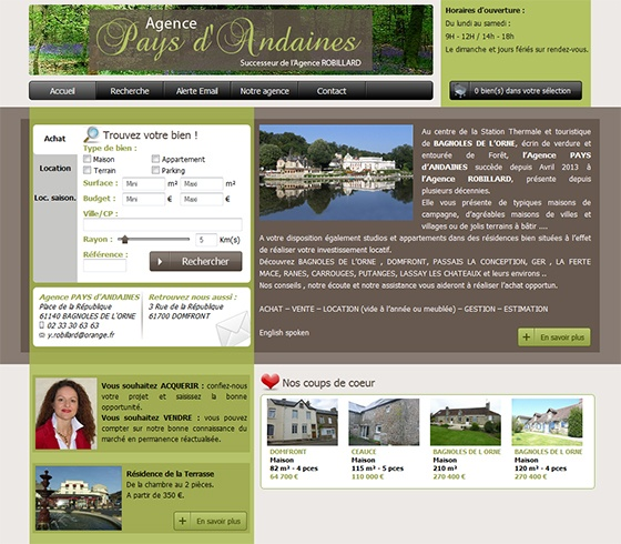 Site Internet de l'agence Pays d'Andaines  http://www.immorobillard.fr/