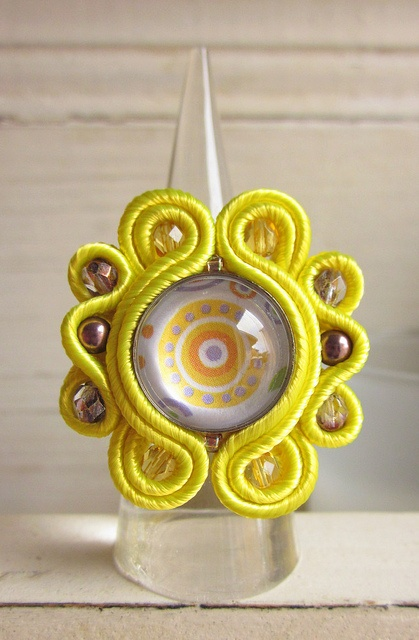 Yellow soutache ring