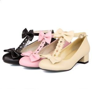 Womens-Candy-Bowknot-Lolita-T-Strap-Bar-Mary-Jane-Chunky-Low-Heel-Pump-Shoes-New