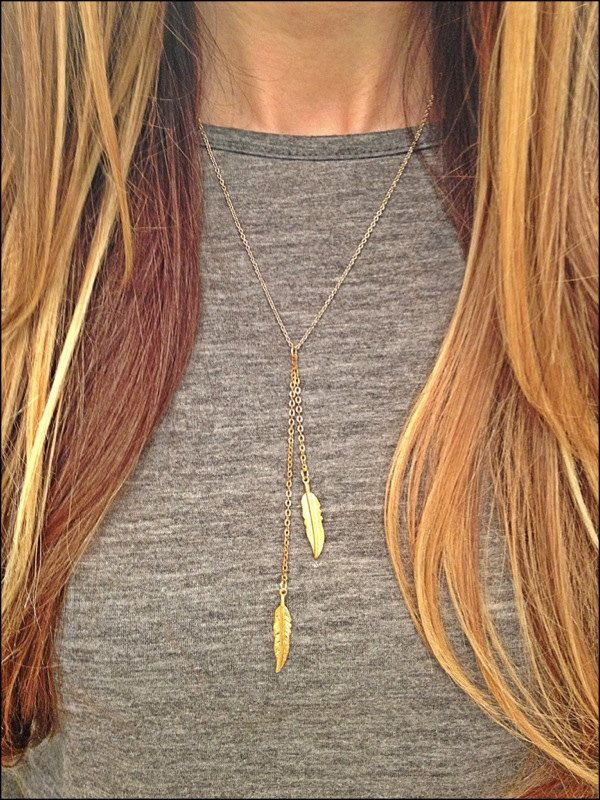 Double Feather Lariat Necklace  GOLD by elladolce on Etsy, $24.00