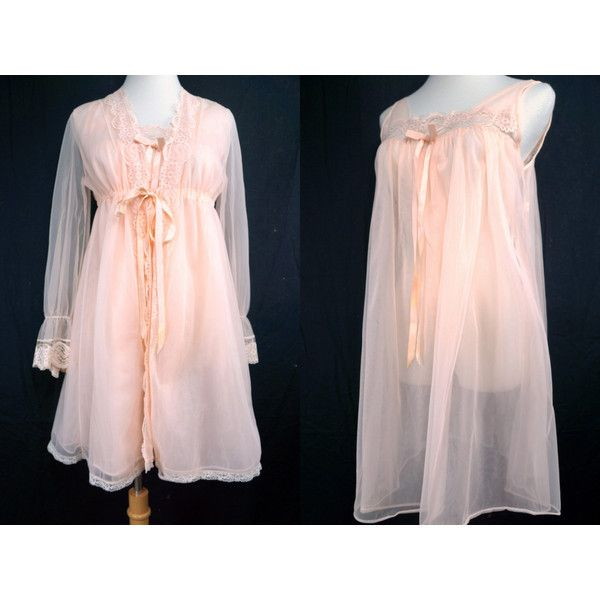 1960s Peach Chiffon Pajama Set Nightie Peignoir Long Sleeve Robe Sheer... (€67) ❤ liked on Polyvore featuring intimates, sleepwear, nightgowns, sexy sleepwear, see through nightgown, sheer nightgown, long sleeve nightgown and baby doll sleepwear