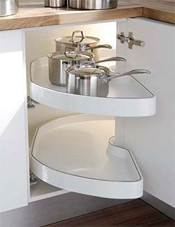 "Corner cabinet ideas - better use of space for the pull out ""susans"""