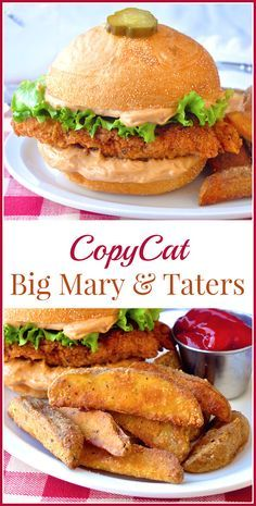 Copycat Big Mary Chicken Sandwich and Taters - a great homemade copycat recipe for a well loved chicken sandwich from Mary Browns Famous Chicken and Taters. Very popular in Newfoundland and other parts of Canada.
