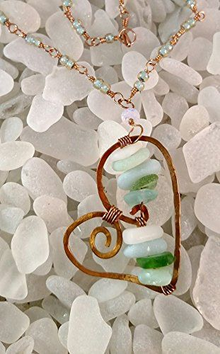 Sea Glass Bronze Wire Heart on a Glass Bead Chain Necklace