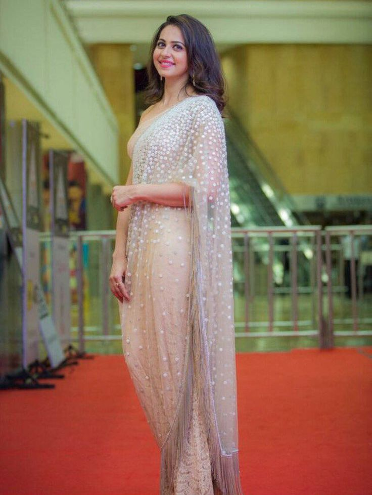 Rakul Preet Photos In White Saree At Cinemaa Awards