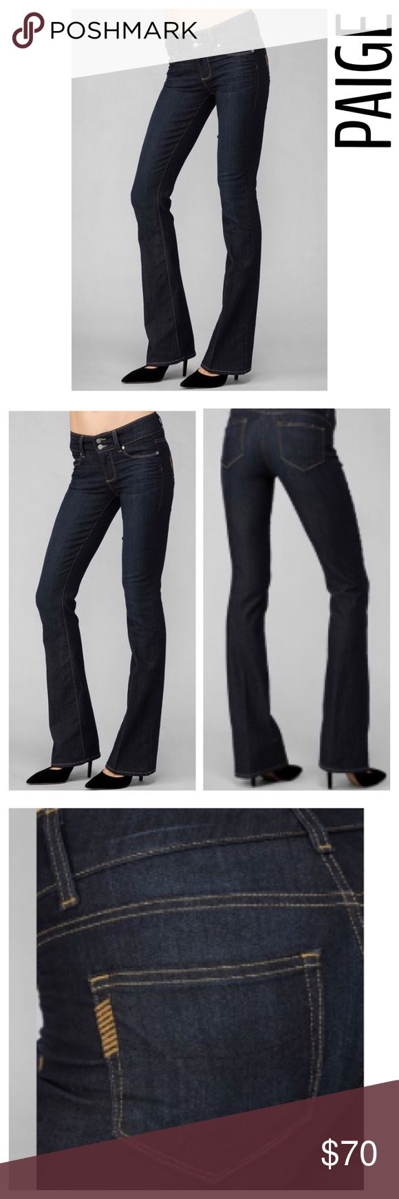 """Paige Jeans Size 28 Hidden Hills Hi Rise Bootcut Paige Jeans Size 28 Hidden Hills Hi Rise Bootcut, color """"Stream"""" dark wash. Never worn, never washed. Unique double button waistband. These have a lightly faded line on the bottom of one leg. See last photo. It would probably blend in after they are wash. Size 28. (Inventory C17). PAIGE Jeans Boot Cut"""