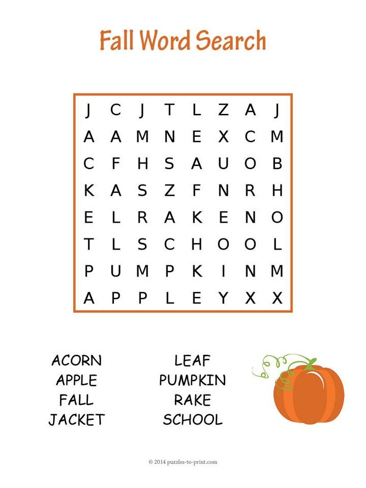 Enjoy our free printable winter word search for kindergarten to second grade features words associated with autumn.  Home or school use welcome.
