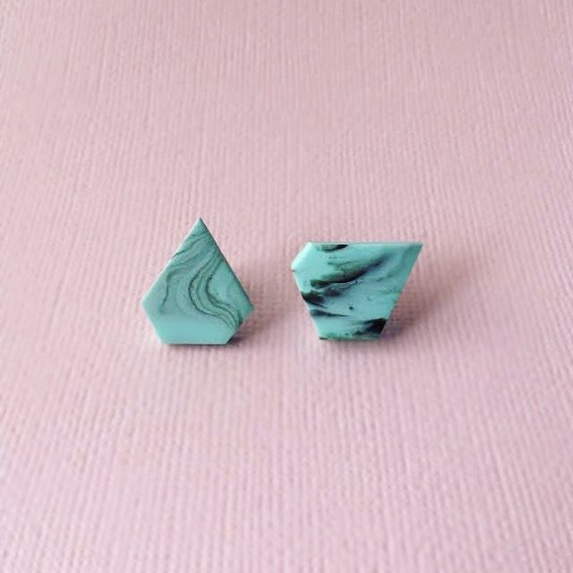 Marbled Cool Mint Abstract Earrings