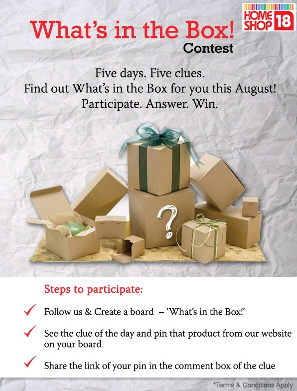 Five days. Five clues. Find out What's in the Box for you this August! Come Celebrate. Participate. Answer. Win.