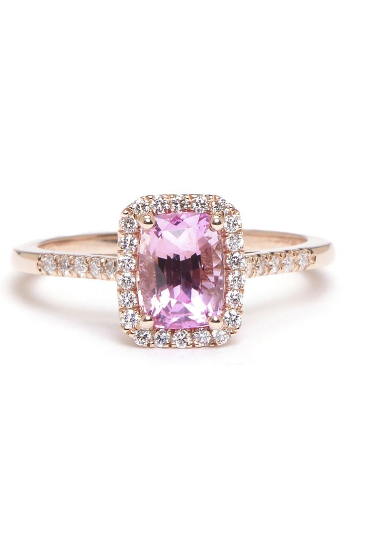 Greenwich Collection Padparadscha Sapphire and Diamond Ring