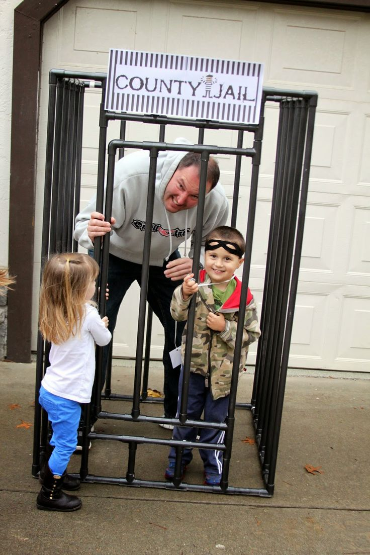 Cops & Robbers birthday party. Jail out of PVC pipe. Party ideas & free printables