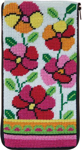 Eyeglass Case - Pink and Orange Poppies - Needlepoint Kit