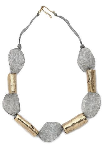 Julie Cohn Design: Nebula Crystal Necklace. Rock crystal and hand formed bronze beads knotted on titanium ribbon -18 inches.