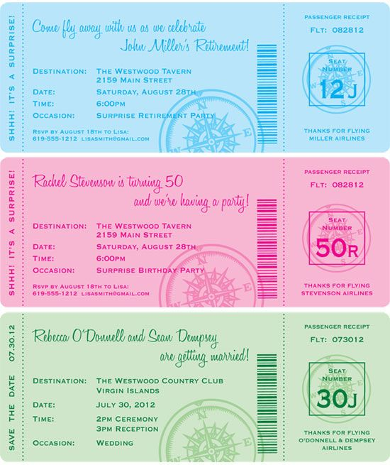 Custom Boarding Pass Invitation The Party Train Is Ready To Leave