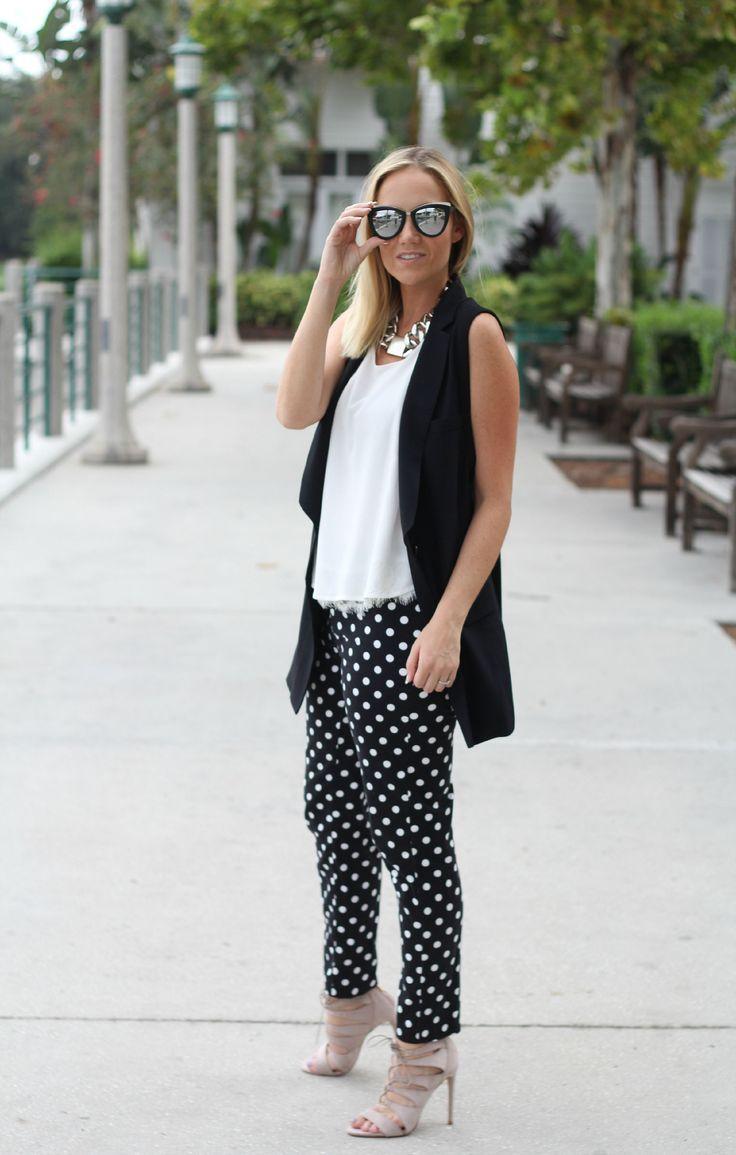 how to wear polka dot pants