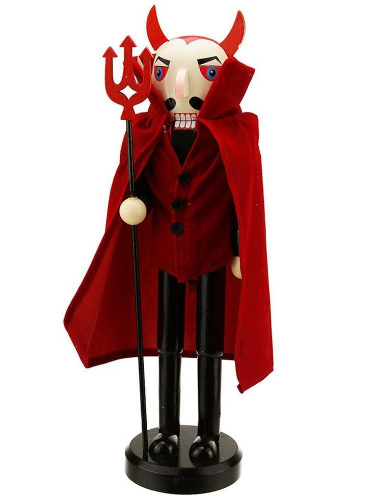 """Decorative 14"""" Red Devil Wooden Halloween Statue Holding a Pitch Fork"""