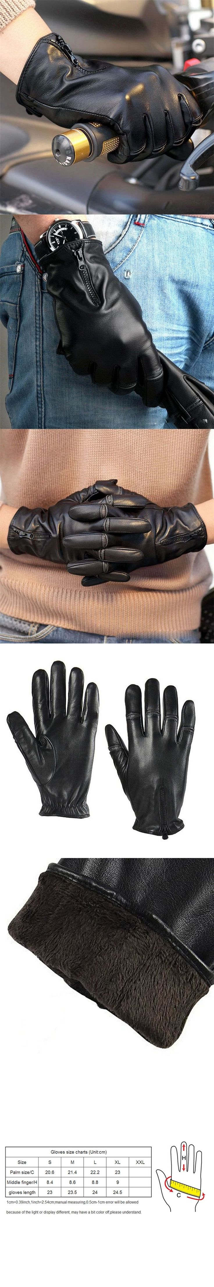 Men Genuine 2017 NEW  Leather Gloves Fashion Black Sheepskin Gloves Autumn Winter Plus Thermal Velvet Driving Gloves M008NC-5