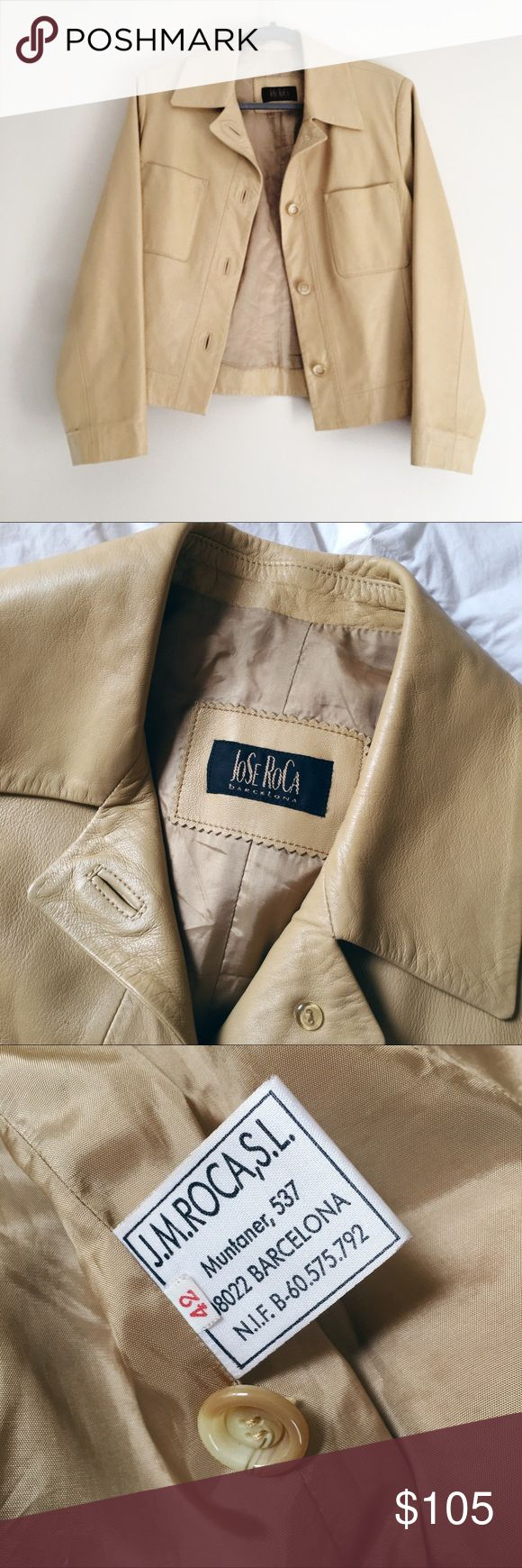 Jose RoCa Barcelona Leather Jacket Gorgeous quality smooth leather jacket from Barcelona! Cool retro style in a light tan color. European size 42, fits like a M/L. Jose RoCa Jackets & Coats