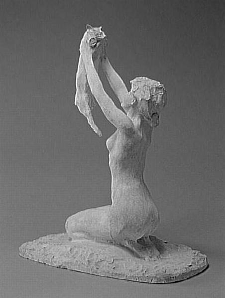 Rembrandt Bugatti - Femme nue à genoux soulevant un chat (1er quart 20e siècle)