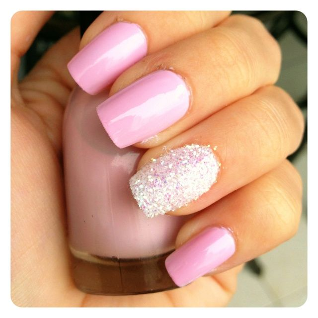Light Pink Nails With Glitter Light Pink Amp Glitter Nails Wedding Day Nails Nails