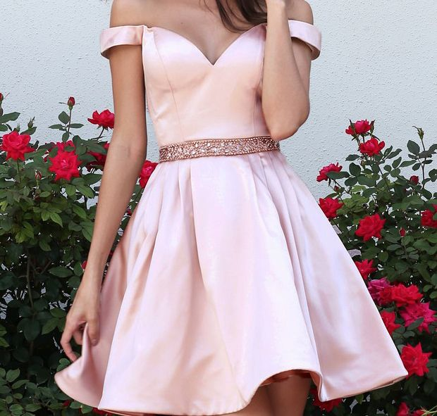 Off Shoulder Homecoming Dresses, Satin Homecoming Dresses, Beaded Belt Homecoming Dresses, New Design Homecoming Dress,Knee Length Homecomi by comigodress, $126.59 USD