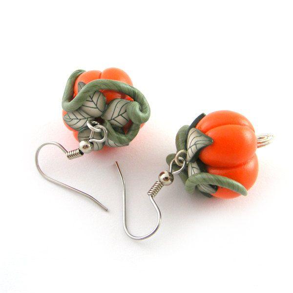 Pumpkin Earrings Halloween Jewelry  Polymer Clay Earrings Halloween Earrings. $18.00, via Etsy.