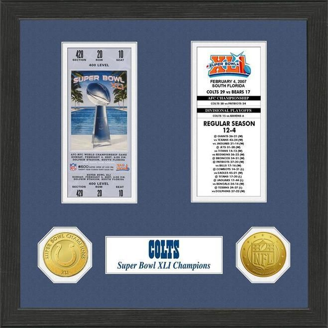 Indianapolis Colts Super Bowl Ticket Collection Plaque Z157-3320474482