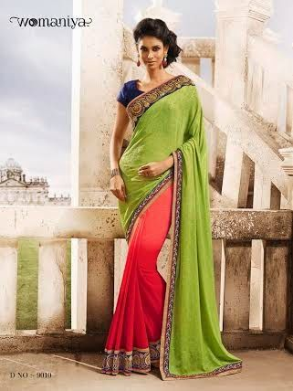 Beautifully designed Shaded Pink with Green Georgette saree with heavy embroidery work en-crafted all over. Comes along with Contrast matching Blue Blouse.
