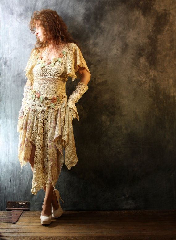 Custom Order for Riley Romantic Bohemian Fairy Layering Crochet Lace Dress Roses Tea Dyed Vintage Doily Reconstructed Upcycled Majik Horse