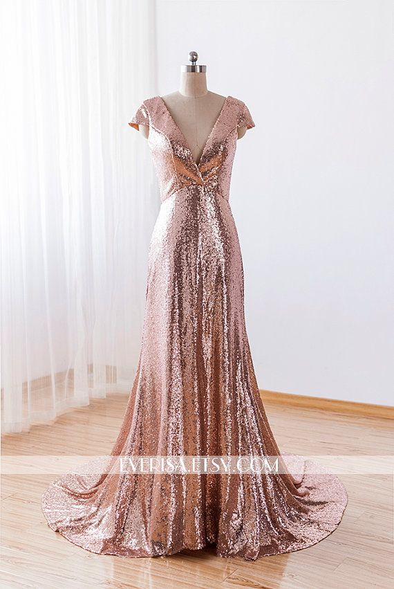 Custom-Made sexy v neck floor lenght long rose gold by Everisa