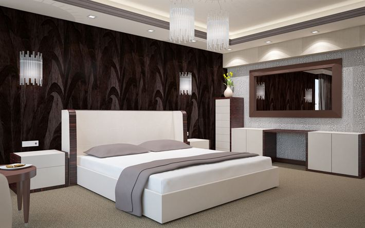 Scarica sfondi elegante camera da letto matrimoniale, un design moderno camera da letto, letto, arredamento, camera da letto grigio