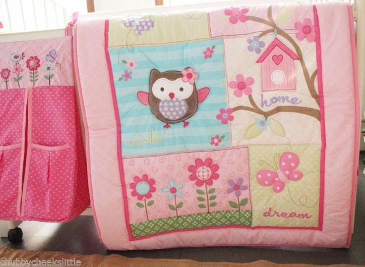 New 4pcs baby Crib Cot Bedding Set Quilt Bumper Sheet Dust Ruffle Birdie Girl