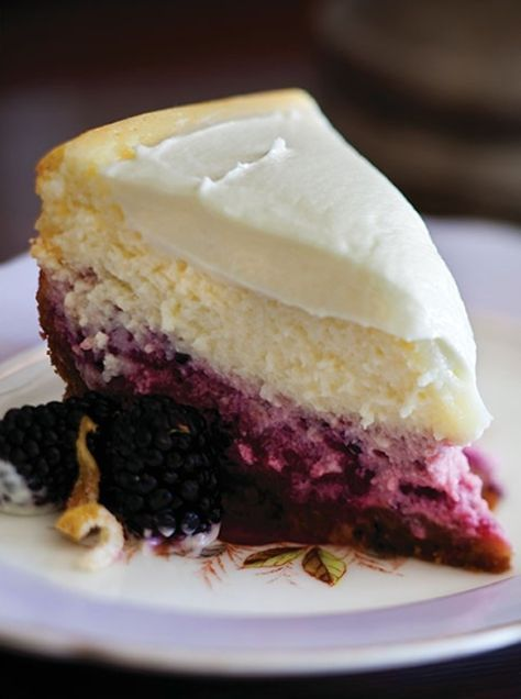 I want this in my mouth - Lemon, Blackberry Cheesecake by simplyseductive #Cheesecake #Lemon #Blackberry -- I'd use blueberry instead