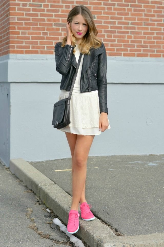 pink sneakers, lace dress, leather jacket, reebok: allie wears - a boston based personal style blog