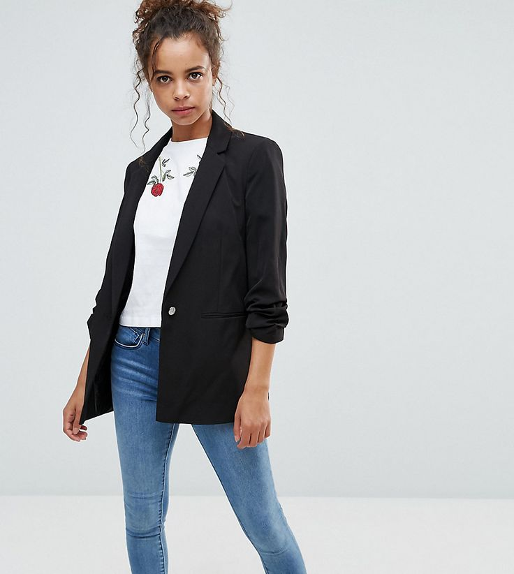 Get this Miss Selfridge Petite's blazer now! Click for more details.  Worldwide shipping. Miss Selfridge Petite Ruched Blazer - Black: Petite  blazer by Miss ...