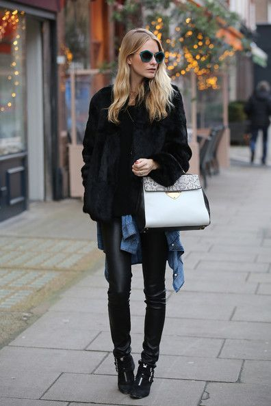 Poppy Delevingne Leather Tote - Poppy Delevingne topped off her ensemble with the new Coccinelle B14 tote in black, white, and gray.