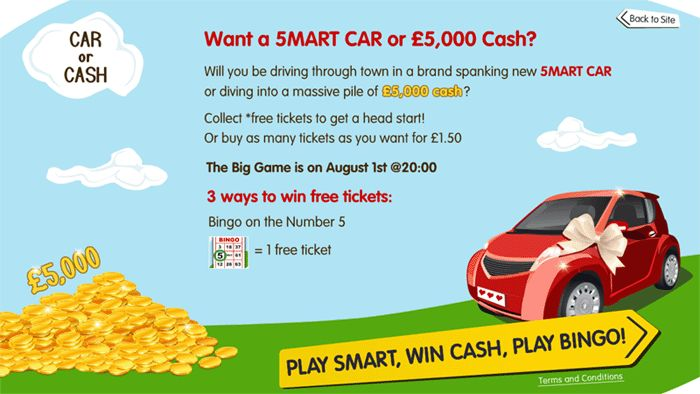 Priceless Bingo are asking some tough questions...Would you rather have a Smart Car or £5,000 cash? You may well have to decide if you win in the Car or Cash promo taking place on August 1st!