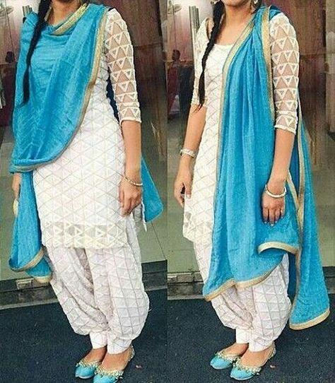 Punjabi Patiala Salwar Kameez Suit is the dresses regularly worn by Indian Punjab women and it is traditional dress of Indian Punjab women. Punjabi Salwar Kameez is a sign of dignity and comfortable to wear. Punjabi Salwar Kameez is typically worn with chunni or dupatta.