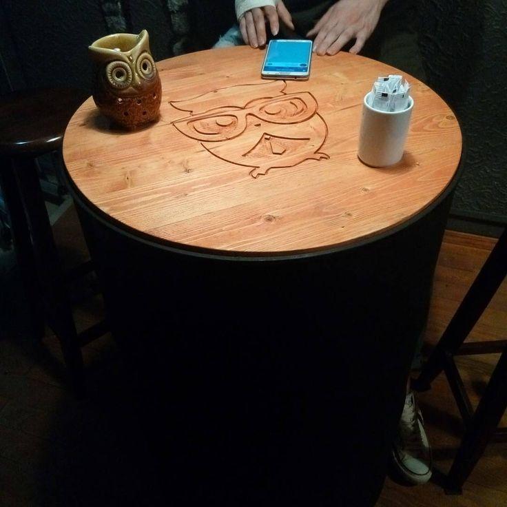 Metal Varil Masa  #wooden #woodentable #table #cafe #kafe #ahsapmasa #ahşap #ahşapmasa #barrel #woodarmy #bistro #bistromasa #design