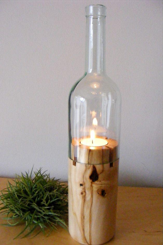 Windlichter – Flaschen Windlicht Kastanienholz Holzwindlicht – ein Designerstück von Holzfelge bei DaWanda