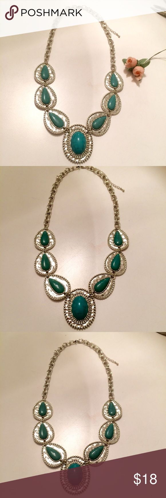 Turquoise and Silver Statement Necklace This is a pre owned turquoise and silver statement necklace . Worn a few times. In excellent condition. Jewelry Necklaces